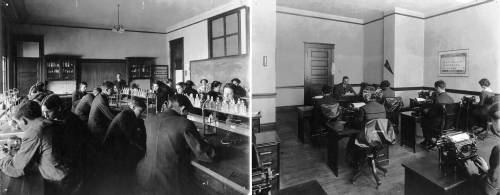 Classrooms ca. 1914: Chemistry, Instructor Mr. D.B. Stillwell (Note the bottles of sulphuric acid sitting at eye level t